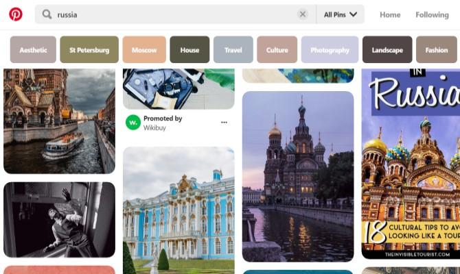 Pinterest médias sociaux russes