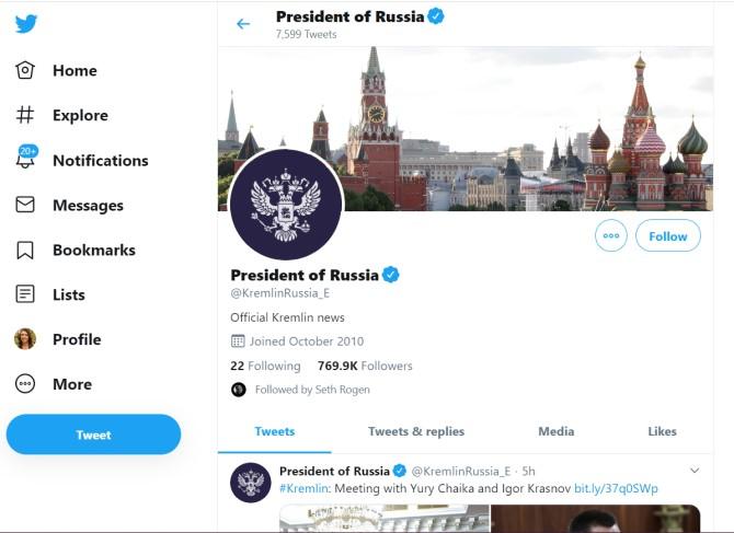 Twitter médias sociaux russes