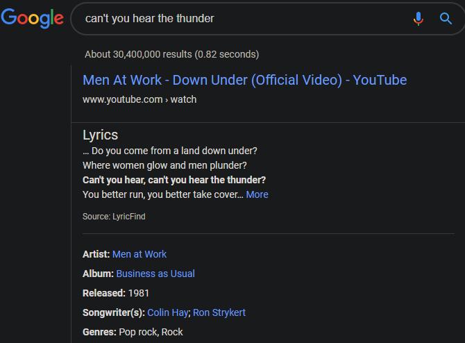 YouTube Search Lyrics Google