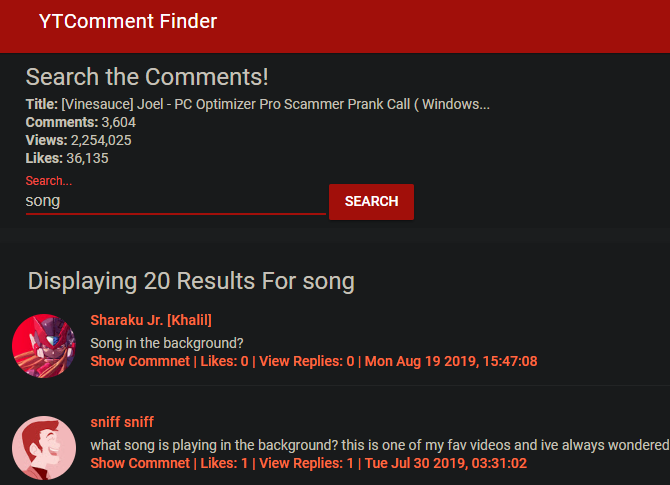 YTComment Finder