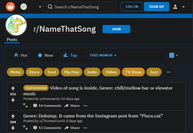 Reddit Name That Song