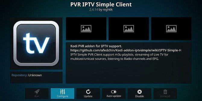 Fenêtre d'installation de PVR IPTV Simple Client