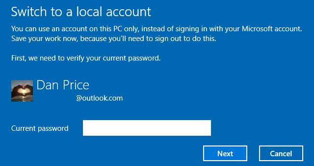 confirmation de connexion au compte local windows-10