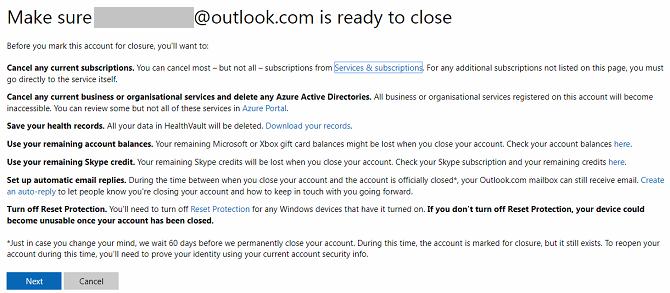 fermer l'écran du compte Microsoft