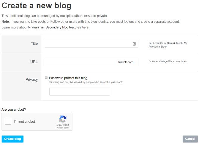 quelle est la nouvelle page de blog de Tumblr