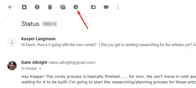 Nouveau bouton de répétition Gmail dans la vue e-mail