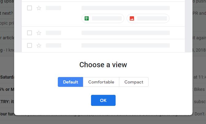 Définir Gmail sur la densité d'affichage par défaut