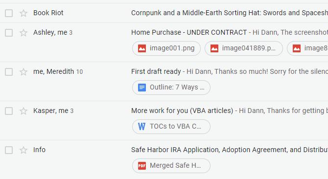 Nouvelles pièces jointes de la boîte de réception Gmail
