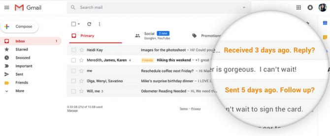 Nouvelle fonctionnalité de nudge de Gmail