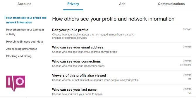 confidentialité liée modifier votre menu de profil public