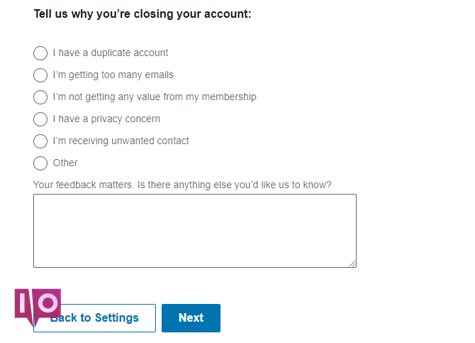 Page de fermeture de compte linkedin