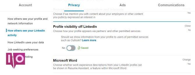 basculer la visibilité du profil hors des paramètres de linkedin