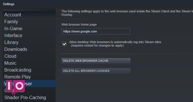 Supprimer le cache du navigateur Steam