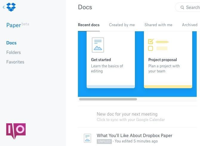 Interface de Dropbox Paper Docs