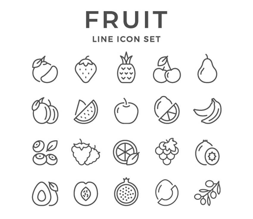 Définir les icônes de la ligne de fruits