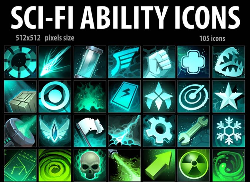 Icônes de capacité de science-fiction
