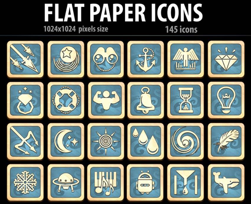 Icônes de papier plat