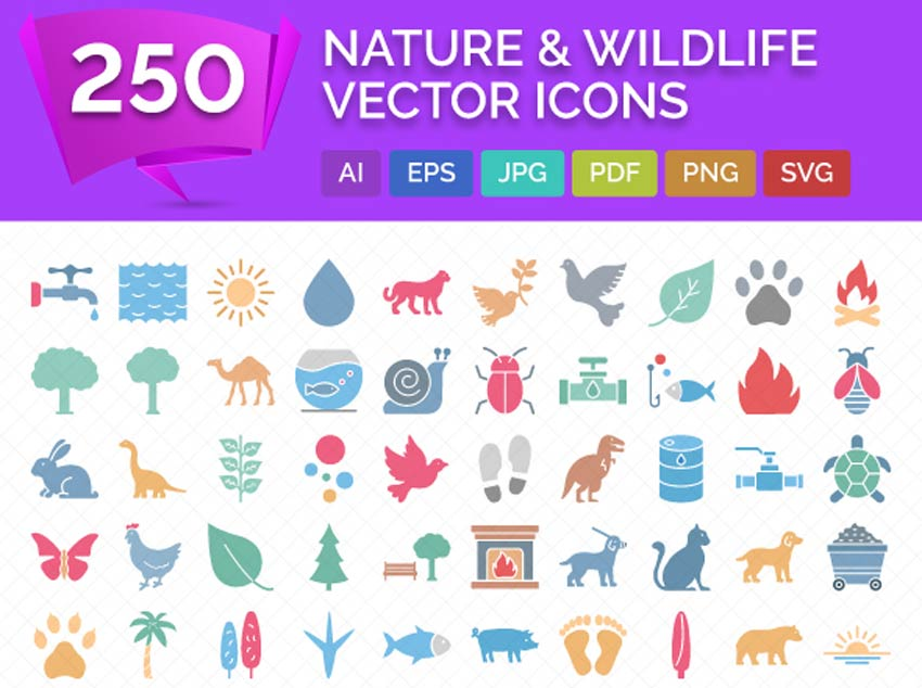 250 icônes vectorielles de la faune