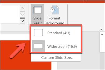 Sélection d'une taille de diapositive dans PowerPoint