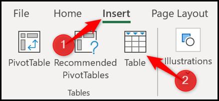 Insérer un tableau dans Excel
