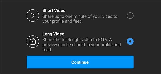 Vidéo courte longue vidéo Instagram