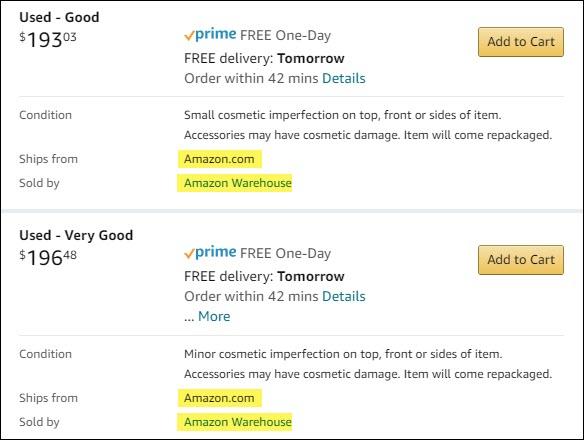 Listes Amazon Warehouse pour les produits d'occasion.