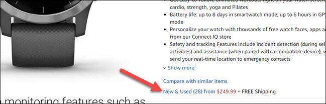 """Cliquez sur """"Neuf et d'occasion"""" pour plus de choix d'achat sur la page d'un produit sur Amazon."""