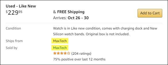 Une liste pour une montre intelligente d'occasion sur Amazon de MaxTech.