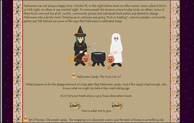 """""""Halloween: une brève histoire"""" sur un site de GeoCities, avec un graphique de tricheurs debout à côté d"""