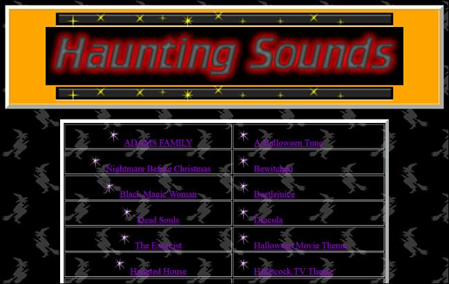 Liens vers des chansons d'Halloween sur le site Web Haunting Sounds.