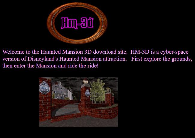 Le site Web HM-3D présentant une carte du manoir Disney Haunted Mansion sur GeoCities.