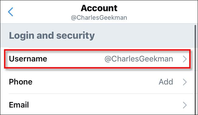 """Dans les paramètres Twitter, appuyez sur """"Nom d"""
