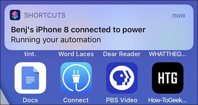 Une notification d'automatisation dans iOS 14.