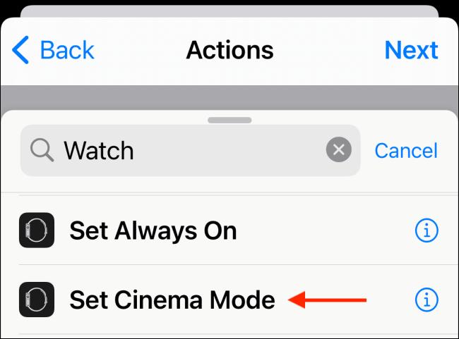 Choisissez Définir le mode cinéma ou Définir le mode cinéma