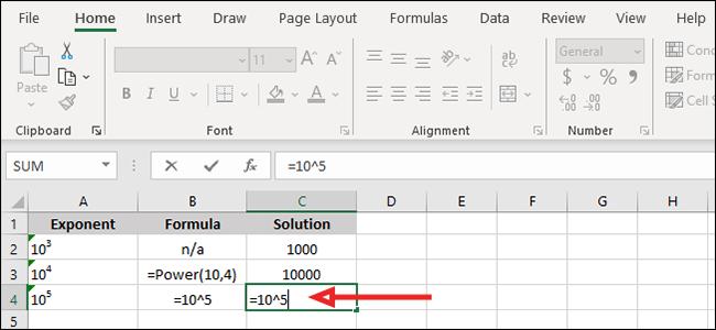 """Branchez votre nombre de base et votre exposant dans la formule """"= nombre de base ^ exposant""""."""