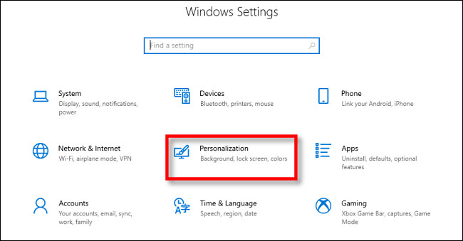 Dans les paramètres de Windows 10, cliquez sur «Personnalisation».