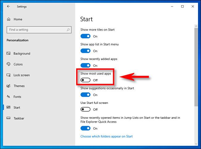 """Dans les paramètres de Windows 10, cliquez sur le bouton """"Afficher les applications les plus utilisées"""" pour le désactiver"""