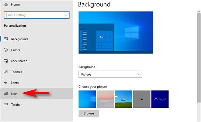"""Dans les paramètres de Windows 10, cliquez sur """"Démarrer"""" dans la barre latérale."""