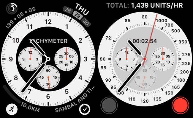 Un cadran de montre Chronograph Pro avec une complication tachymétrique intégrée.