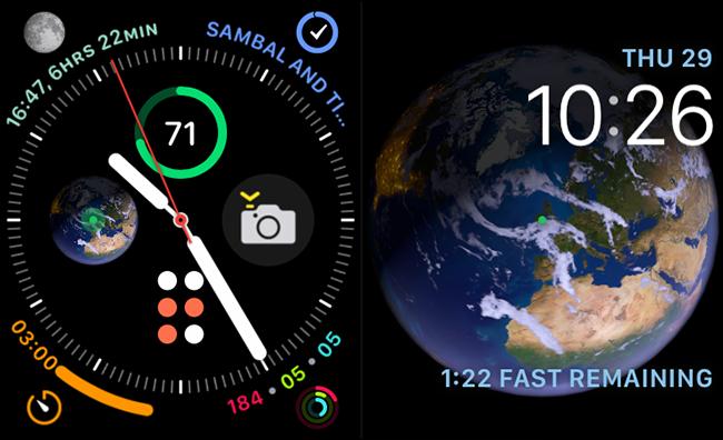 visages infographiques et astronomiques sur apple watch