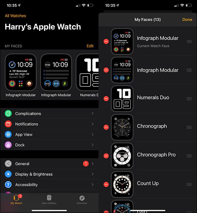 """Le menu """"Toutes les montres"""" sur un iPhone."""