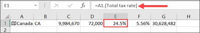 Cliquez sur une cellule pour voir le type de données qu'elle contient dans la barre de formule.
