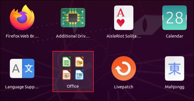 Une grille d'application avec quatre icônes Libre Office dans un groupe.