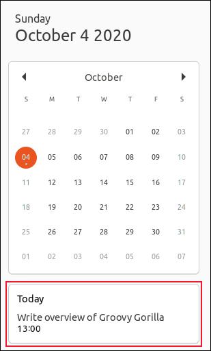 Une notification de calendrier pour le 4 octobre 2020 dans Ubuntu 20.10.