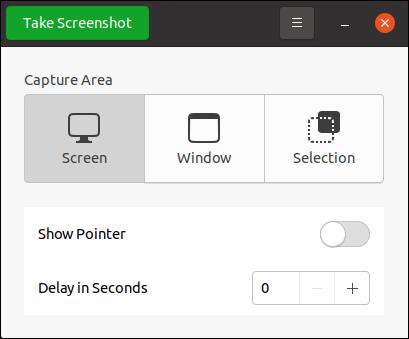 Le programme Screenshot sur Ubuntu 20.10.