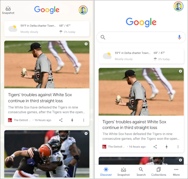 interface utilisateur google