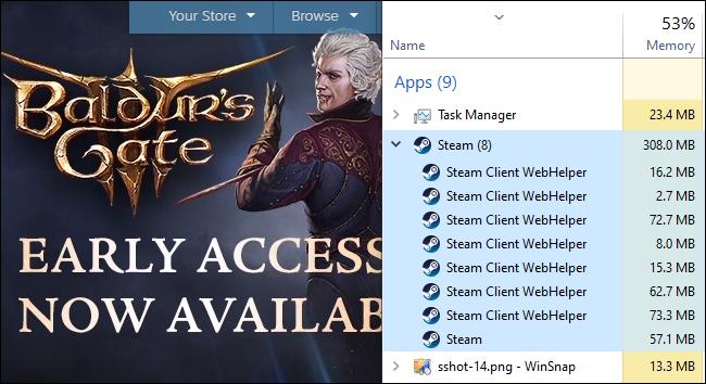 Le gestionnaire de tâches montrant l'utilisation de la RAM du processus WebHelper du client Steam