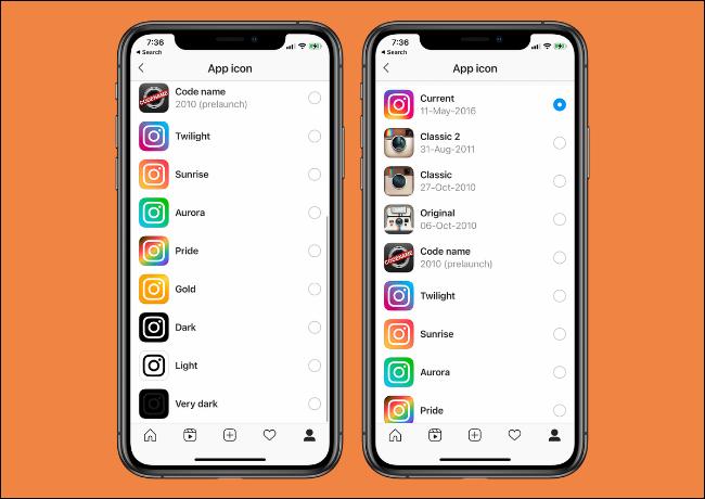 Options d'icônes de l'application Instagram