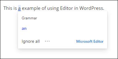 Editeur en action dans WordPress