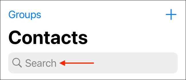 Appuyez sur la barre de recherche dans l'onglet Contacts